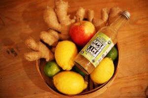 Apple Daiquiri Organic Shots - in fruit bowl.